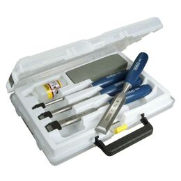Stanley 0-16-130 5002 4 Piece Chisel Set with Oil & Stone